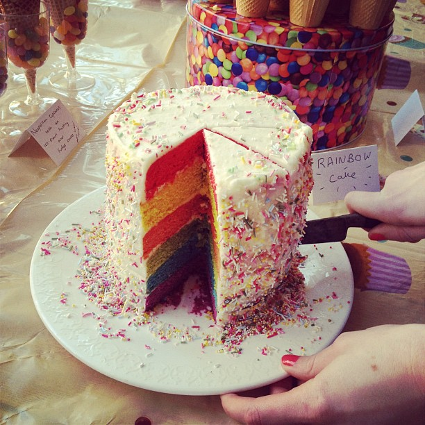 How to bake a simple Rainbow Cake - recipe at kerrycooks.com