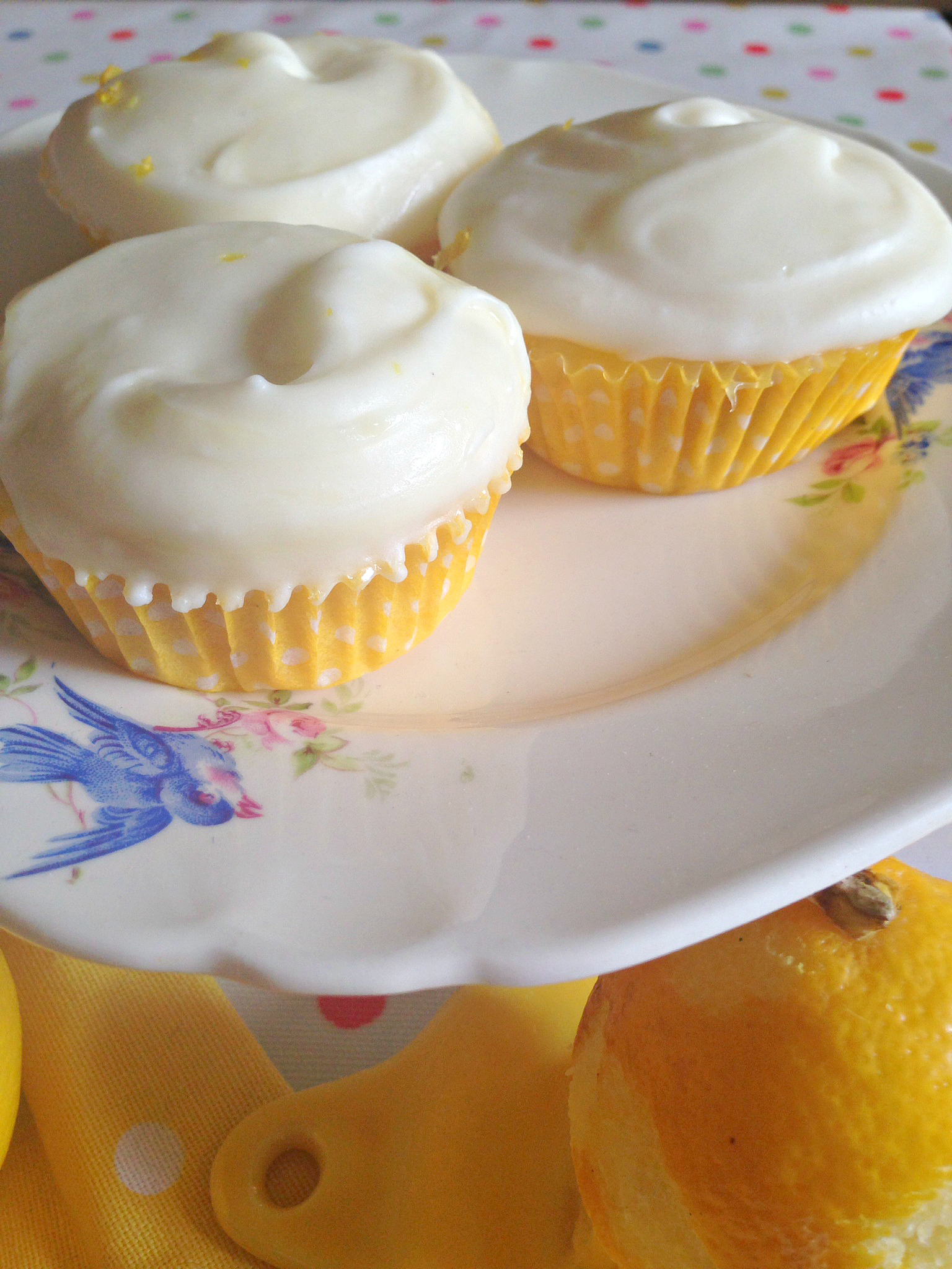 ... cheese frosting scented with lemon zest and juice slathered on top