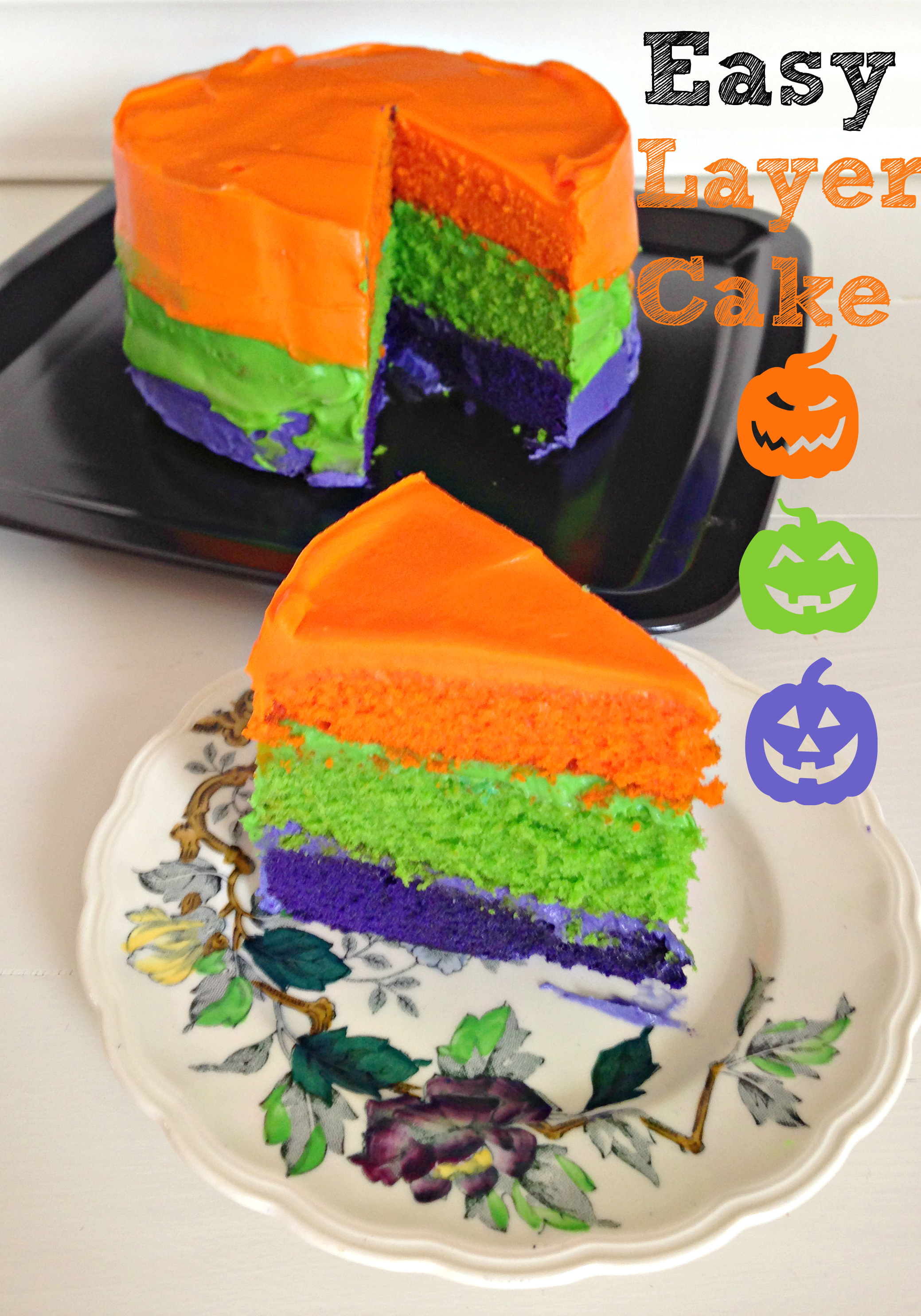 Colourful Halloween Layer Cake | Find the easy recipe at kerrycooks.com