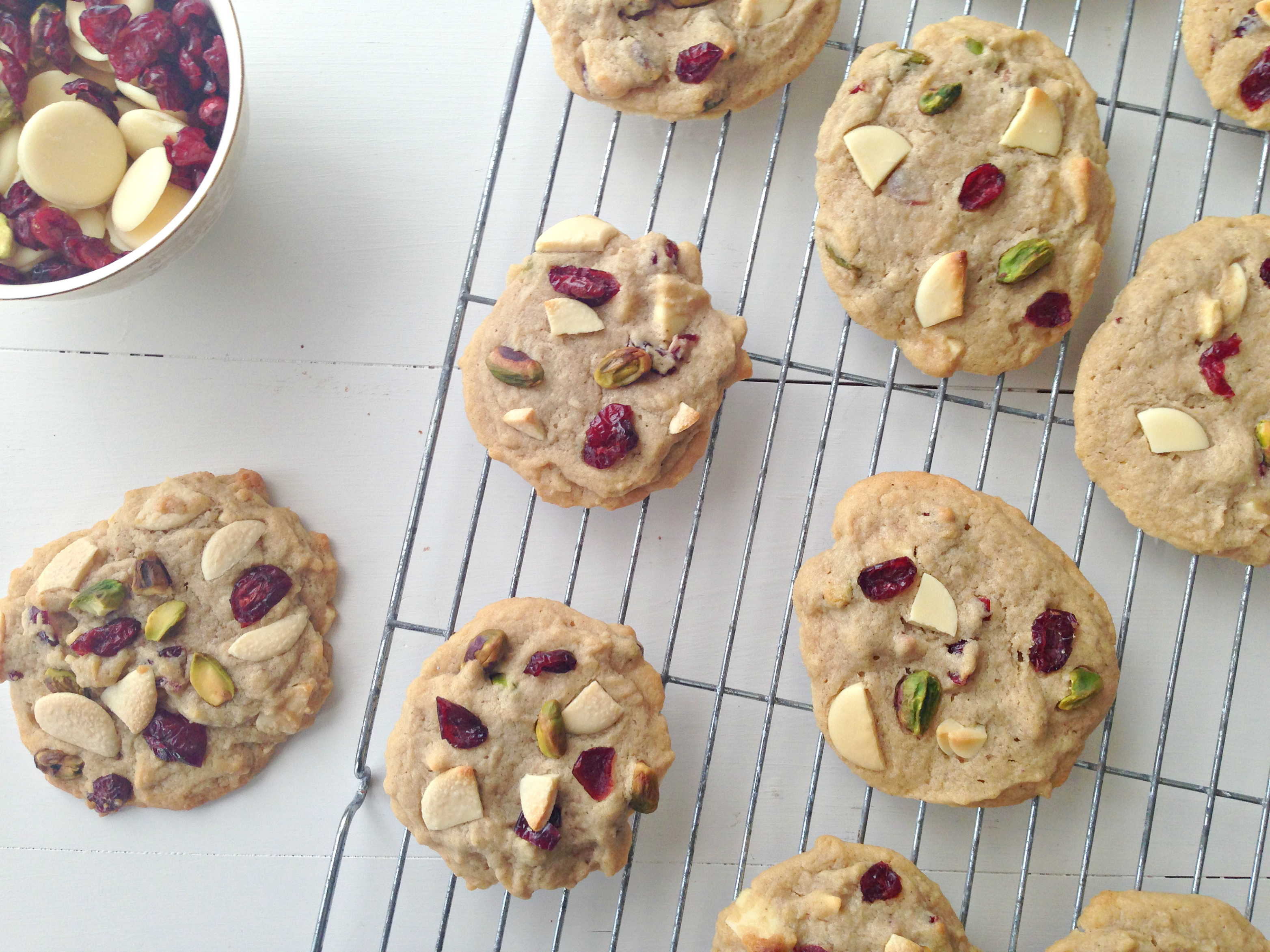 Cranberry, Pistachio and White Chocolate Cookies